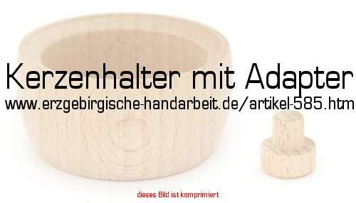 Kerzenhalter Holz Bastelbedarf ~   42 mm Höhe 26 mm Tiefe (Innen) 19 mm Material Holz inkl Adapter